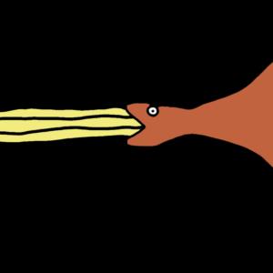 チュロスを食べるツチノコ