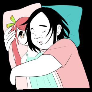 抱き枕で眠るオタク