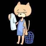 洗濯物をする猫