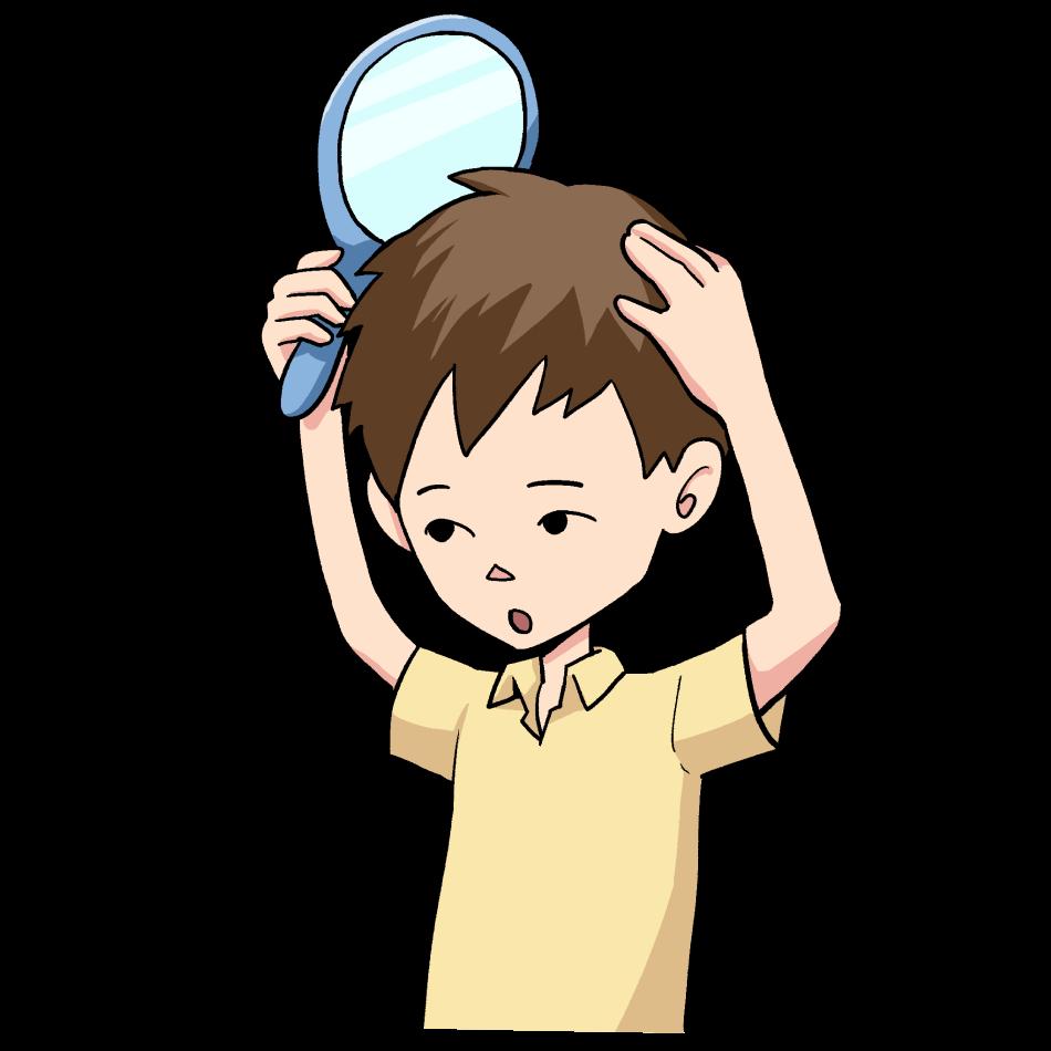 鏡で自分の髪の毛を確認する男性