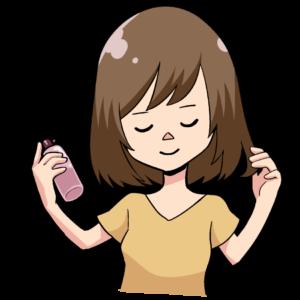 ヘアケアをするツヤ髪の女性