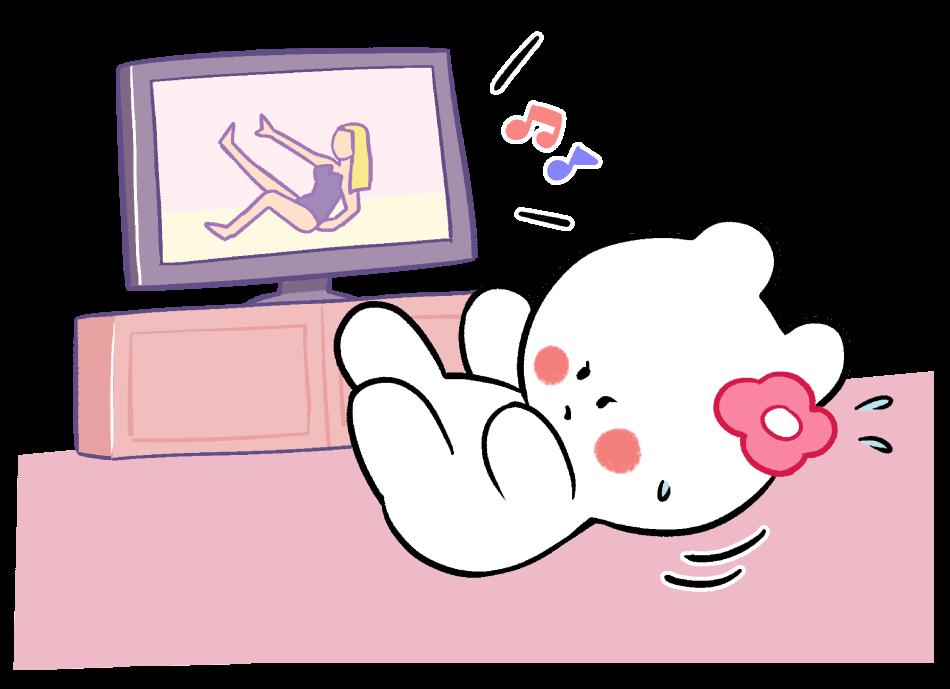 テレビを見て体操するかびんちゃん