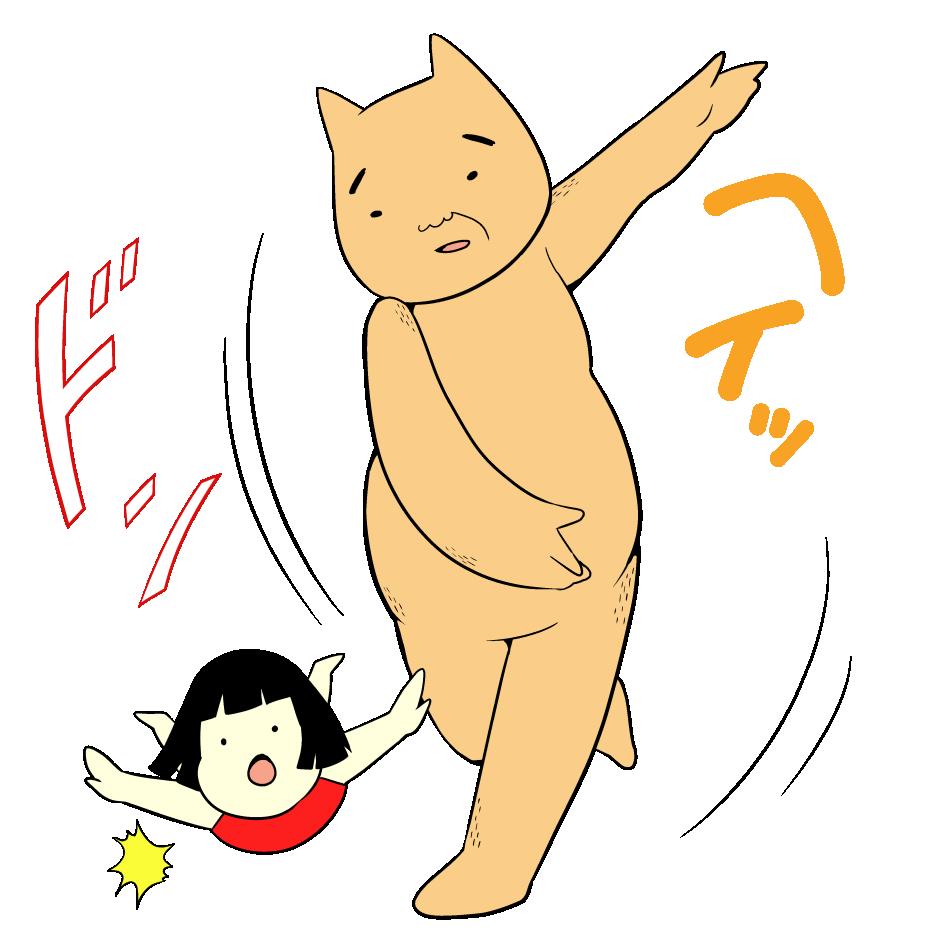 クマに投げ飛ばされる金太郎