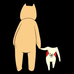手をつないで一緒に帰る金太郎とクマ