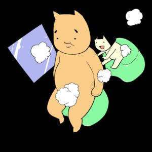 仲良くお風呂に入る金太郎とクマ
