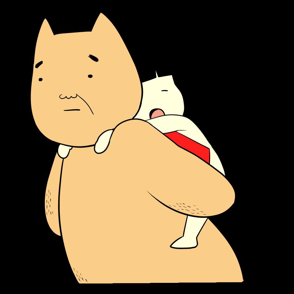 肩車をしてくれたクマの背中で寝る金太郎