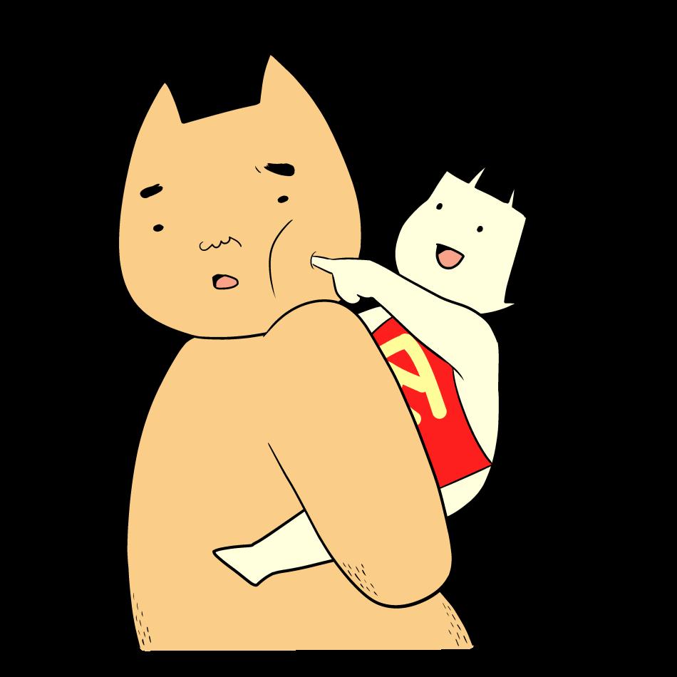 肩車をした金太郎にいたずらされるクマ