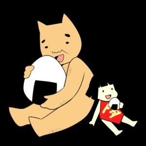 おにぎりを食べる金太郎とクマ