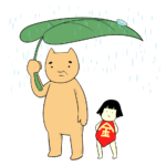 雨宿りする金太郎とクマ