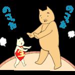 相撲をとる金太郎とクマ