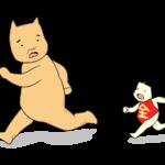 逃げる金太郎とクマ