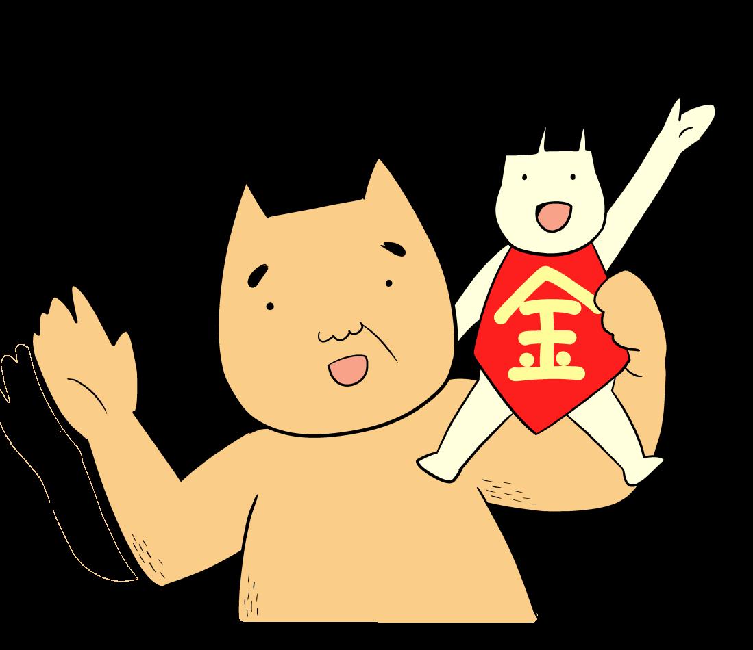 肩に乗せた金太郎と手をふるクマ