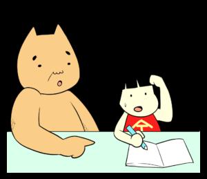 勉強を教えるクマ