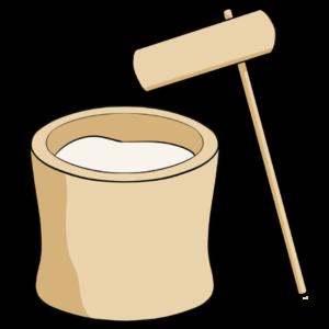 杵と臼の餅つき