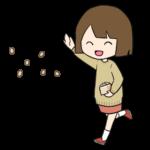 節分の豆を投げる女の子