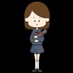 卒業証書の入った筒を持つセーラー服の女子